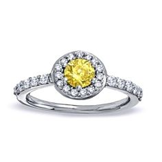 1 Ct Fancy Yellow & White Diamond Pave Framed Engagement Ring In 14K White Gold by JewelryHub on Opensky