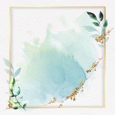Gold square frame on a green watercolor background vector Framed Wallpaper, Flower Background Wallpaper, Cute Wallpaper Backgrounds, Flower Backgrounds, Watercolor Background, Background Patterns, Green Watercolor, Watercolor Leaves, Watercolor Landscape