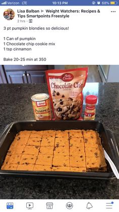 Pumpkin chocolate chip cookie mix brownies cinnamon - my list of delicious and healthy recipes Ww Desserts, Weight Watchers Desserts, Delicious Desserts, Dessert Recipes, Yummy Food, Weight Watchers Pumpkin, Tasty, Weight Watchers Brownies, Weight Watchers Menu