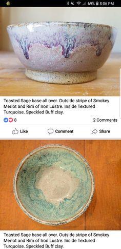 Glazed Pottery, Glazes For Pottery, Pottery Mugs, Pottery Bowls, Ceramic Bowls, Ceramic Pottery, Stoneware, Ceramic Glaze Recipes, Amaco Glazes