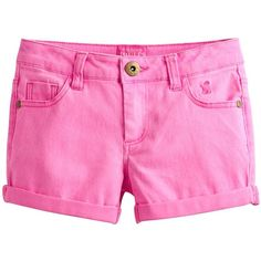 Pond Neon Pink Rose Denim Shorts | Joules US ❤ liked on Polyvore featuring shorts, short jean shorts, pink jean shorts, neon pink jean shorts, pink denim shorts and denim shorts