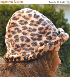 ee9019213a92 Items similar to Vintage Leopard Hat Stunning Stylish Ellen Faith Vintage  Faux Leopard Print Winter Women's Hat Brown, Tan, Black with Fur Like on  Etsy