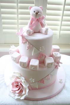 Pink teddy birthday or christening cake
