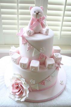 Pink teddy birthday or christening cake