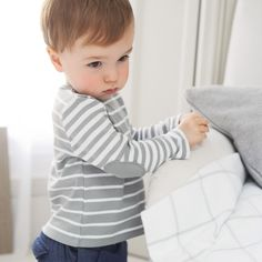Buy Baby > Baby Boys Clothing > Elbow-Patch Stripe T-Shirt - Mineral from The White Company