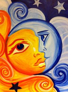 """Painting Workshop: """"Sun and Moon"""" (sunset painting easy beautiful) Diy Canvas, Canvas Art, Sun And Moon Drawings, Arte Inspo, Sun Art, Painting Workshop, Hippie Art, Hippie Drawing, Mexican Art"""