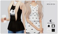 """kalewa-a: """"TS4 Cute Tanks I really love these tops, I find them unbelievably cute. I hope you guys think so too! This time I added a black shirt with white bows. • Recolored • Thumbnail •..."""