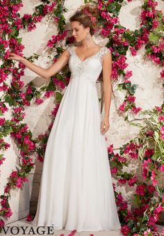 6792 Wedding Gowns / Dresses Embroidered Appliques on Delicate Chiffon with Crystal Beading