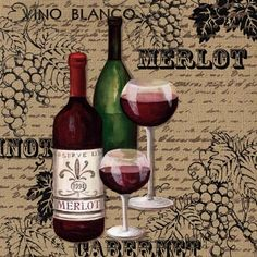 merlot. Bebidas e Infusiones Wine Theme Kitchen, Kitchen Themes, Wine Bottle Glasses, Wine Painting, Wine Signs, Coloring Book Art, Coffee Wine, Cafe Art, Wine Decor