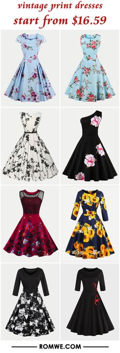 vintage print dresses from $16.59