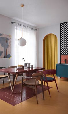 Bauhaus Dining Room with Earthy and Vibrant Tones; Designer Pendant from Flos Lighting - Home Interior Design, Interior Architecture, Interior Decorating, Interior Colors, Interior Livingroom, Top Interior Designers, Living Room Interior, Interior Styling, Living Room Decor