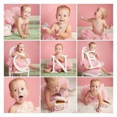 First Birthday...I like mixing the cake   smash with the letters. Layout would make a cute scrapbook page,   too.