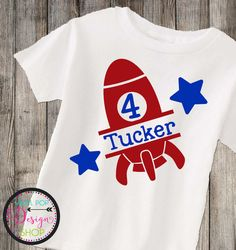 Personalized Birthday Rocket Outer Space Shirt 3/4 or