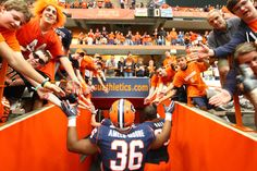 Best Fans around. As goes into the locker room I am on the second level in this picture! Syracuse Orangemen, Syracuse University, Best Fan, Locker, Letting Go, Two By Two, Fans, Football, My Love
