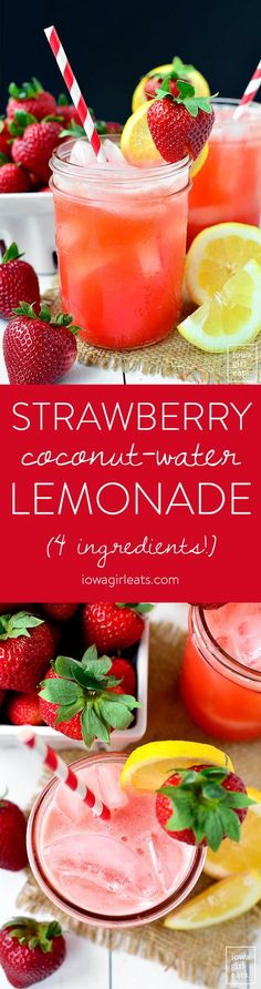 Strawberry Coconut Water Lemonade is a sweet-tart summery drink recipe made with fresh strawberries, lemons, and coconut water. Top with sparkling water for a little fizz! | iowagirleats.com