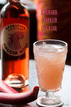Rhubarb Sparkler Cocktail on ASpicyPerspective.com #summer #cocktails