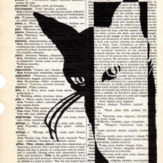 White Cat dictionary book page collage. Cool idea positive/negative image over journalingBlack White Cat dictionary book page collage. Cool idea positive/negative image over journaling Negative Space Art, Positive And Negative, Book Page Art, Book Art, Altered Books, Altered Art, Journal D'art, Art Du Collage, Collage Book