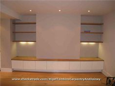 Alcove furniture with solid oak floating shelves