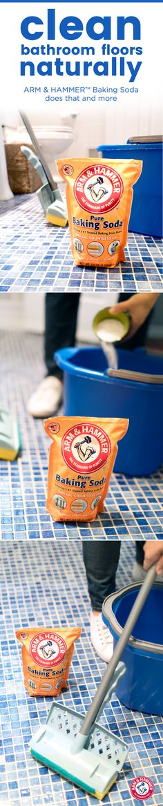 Who needs harsh chemicals when you can get flawless floors naturally? Just add 1/2 cup of ARM & HAMMER™ Baking Soda to a bucket of warm water, mop your bathroom floor as usual, and rinse. Now you have a dazzling floor you and Mother Nature can be proud of.