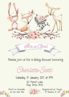 Woodland baby shower invitation, woodland invitation package, its a girl, instan. Girl Baby Shower Decorations, Baby Shower Invites For Girl, Baby Shower Fun, Baby Decor, Woodland Theme, Woodland Baby, Woodland Animals, Unusual Baby Names, Dandelion Designs