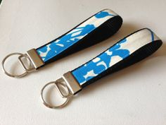 Natures Blue Flowered Key Fob Wristlet Gift by LantanaSisters, $10.00