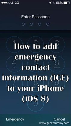 How to add emergency contact information to your iPhone (iOS 8) by geekmummy