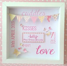 Personalised birth Print / Framed Bunting by LittleLoveliesCraft 3d Box Frames, Wooden Frames, Frame Crafts, Craft Frames, New Baby Crafts, Childrens Christmas Gifts, Shadow Box Art, Baby Frame, Diy Monogram