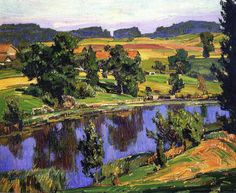 William Wendt (1865 - 1946). Reflections, 1927. Oil on Canvas. 48.26 x 58.42cm (19 x 23 in)