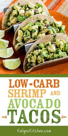 Low-Carb Shrimp and Avocado Tacos are super quick and easy to make and perfect for dinner when you want a light meal. Eat the shrimp-avocado mixture in lettuce wraps if you prefer a version that's Ket Tomatillo Salsa Verde, Quick Meals To Make, Quick Dinner Recipes, Low Carb Tacos, Healthy Tacos, Quesadillas, Avocado Recipes, Healthy Recipes, Healthy Dinners