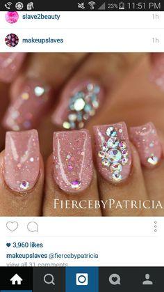 Rose glitter nails