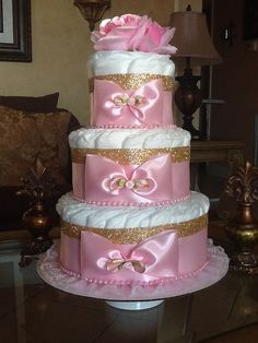 Elegant pink and gold diaper cake/Baby Girl by InspiredbyElena