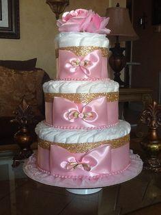 Elegant pink and gold diaper cake/Baby Girl by InspiredbyElena