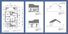 denah rumah Cottage Design, House Design, Home Design Plans, Autocad, House Floor Plans, Modern Architecture, Bungalow, Bali, Sweet Home