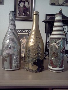 Diy Christmas rustic old wine bottles decor