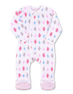 Penguin Kimono Romper Multi Pink Organic Cotton