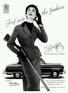 Ford Zephyr 1953 Sets The Fashion Vintage Poster Art Print Retro Style Car Auto Advertisement Free US Post Low EU Postage by VintagePosterPrints on Etsy Fashion Gal, Retro Fashion, Vintage Fashion, Fifties Fashion, Woman Fashion, High Fashion, Vintage Advertisements, Vintage Ads, Vintage Photos