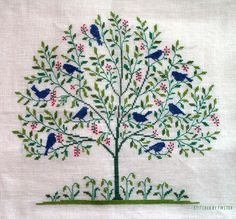 Gerda Bengtsson, cross stitch embroidery, tree with birds