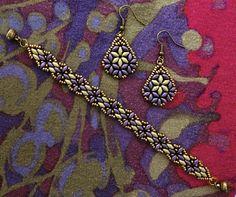 Linda's Crafty Inspirations Harmony Band & Bethany Earrings Set - 11/0 and 8/0 seed beads Miyuki Dark Bronze, SuperDuo beads Metallic Suede Purple and Metallic Suede Gold