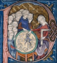 """""""Woman teaching geometry""""  Illustration at the beginning of a medieval translation of Euclid's Elements (c.1310 AD)"""