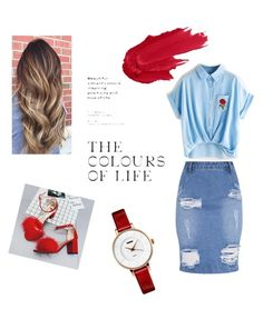 Red and denim by savvinabitz on Polyvore featuring polyvore fashion style clothing