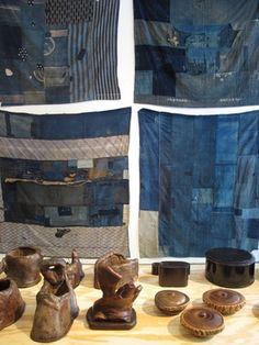 """Eric Kvatek  Japanese Indigo: Boro  June 2012  at Mondo Cane  """"Photographer Eric Kvatek, on frequent trips to Japan, has scoured the early morning antique markets for these beautiful examples of Japanese indigo, some dating back to the early 1800s. These pieces are becoming almost impossible to find."""""""