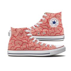 Custom Brains Converse High Tops will have you thinking on your toes and that's all we have to say about it. These Brains Chucks are made to order especially for you featuring someone's brain on both