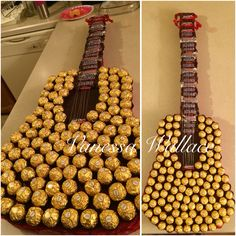 A creative twist to a generic box of chocolates. A life size acoustic guitar made out of 125 Ferrero Rocher chocolate balls, Peanut Chews, Tootsie Rolls, Snickers and 3 Musketeers on a cut out lay of styrofoam. Made for my boyfriend who plays the guitar for Valentines Day.