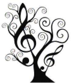 Treble Clef Tree Cross-Stitch