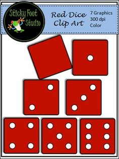 Red Dice Clip Art For MathThis set of Dice Clip Art includes all of the graphics shown in the preview thumbnails.  The graphics are high quality transparent 300 dpi PNG files which can easily be re-sized.  Also AvailableHuge Rainbow Dice Clip Art - 2D and 3DI hope you enjoy this math set and find it useful!PLEASE READ THE TERMS OF USE BELOWYou may use these graphics for personal, free, or small business commercial uses.