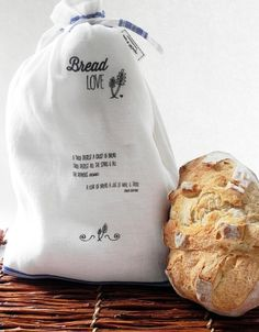 COTTON Linen Bread Bag Screenprinted with Bread Love Quotes and Blue Stripe on Etsy, $23.13