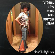 Want to create your own 70's inspired bell bottom jeans? Simply take an old pair of jeans, cut up the outside seam, almost up to the knee. Sew in a triangle piece of fabric, and you're set!