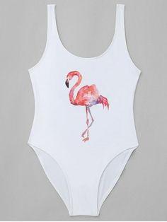 Traje de baño de estampado de flamenco de corte alto - Blanco M Flamingo Print, Billie Eilish, Bathing Suits, Bodysuit, Women's Fashion, Lingerie, Swimwear, Summer, Outfits