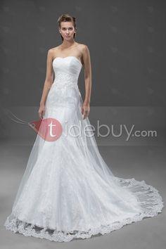 高品質のアップリケ&スパンコールコートトレインジッパーアップのスイートハートウェディングドレス