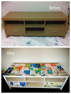 I bought this tv cabinet second hand and re painted it then mod podged it with dr seuss pages to compliment the dr seuss cushions i sewed for the play room!